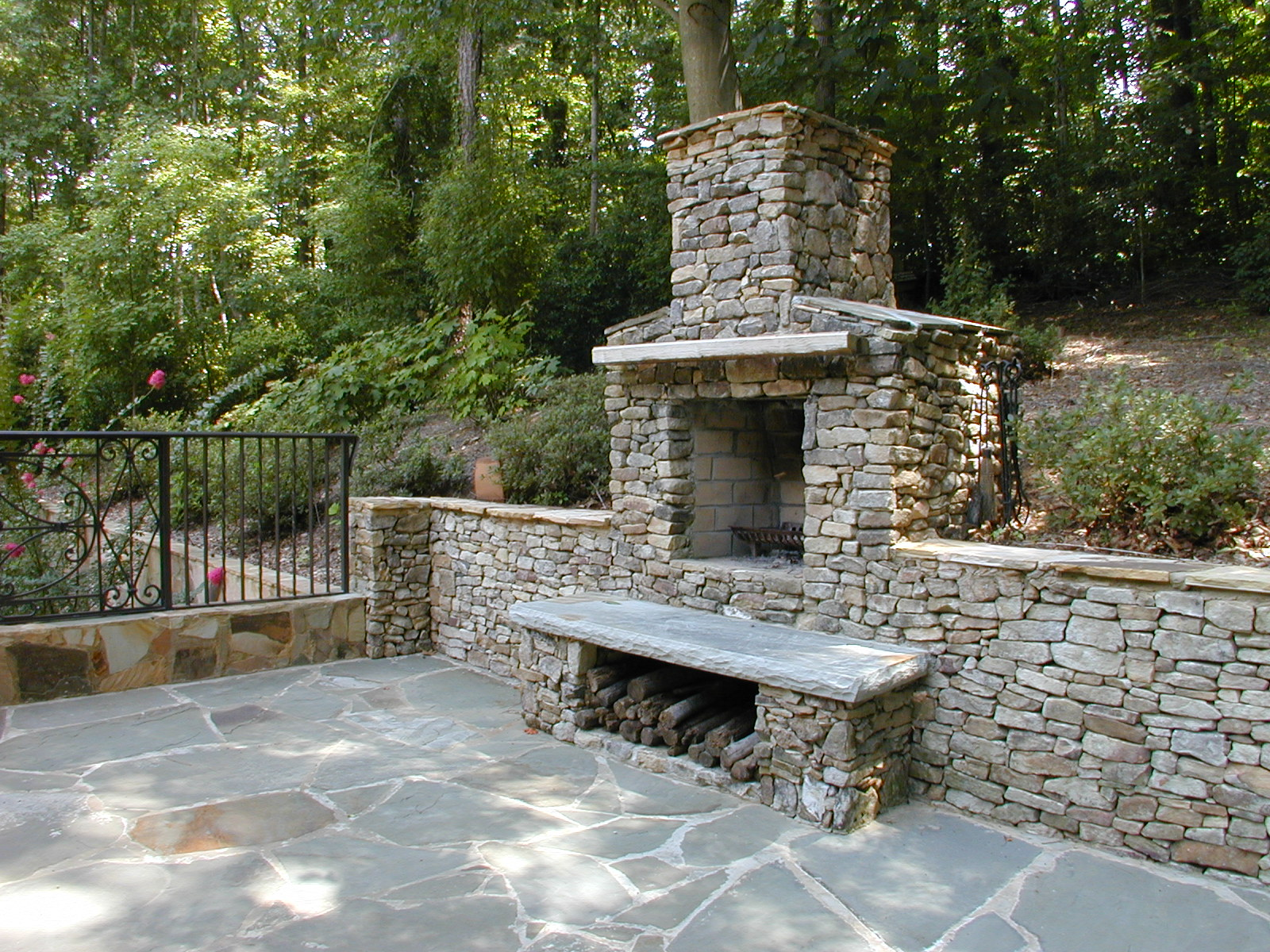 Outdoor Stone Patio & Fireplace